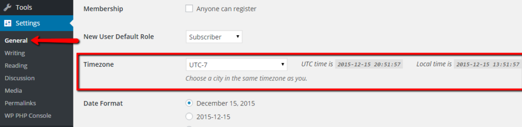 timezone settings wordpress
